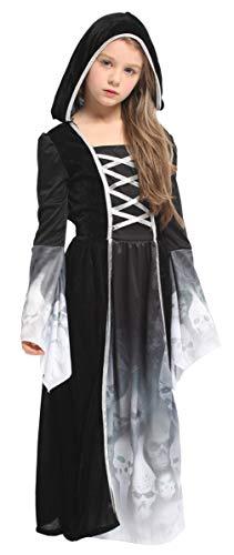 Eozy Kinder Mädchen Kostüm Halloween Schwarz Geist Kostüm Karneval Fasching Kostüm Cosplay XL Körpergröße 130-140cm (Kostüm Schwarzer Geist)