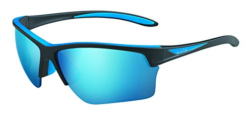 bollé Erwachsene Flash Sonnenbrille, Matte Black/Blue, Large