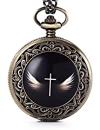 ShopyStore Bronze Gorben New Arrival Angel Wings Cross Pocket Watch Mens With Fob Chain Vintage Ro