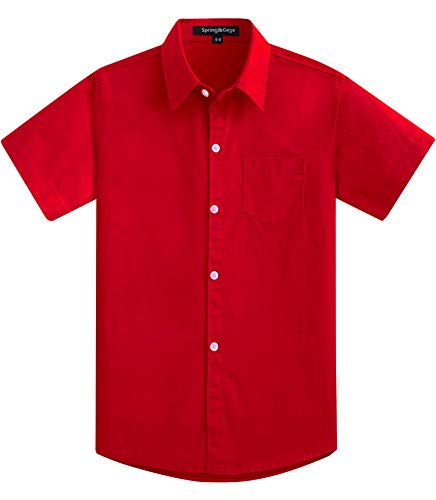 Spring&Gege Jungen Kurzarm Solid formelle Baumwolle Twill Kleid Shirts Gr. 7-8 Jahre, rot -