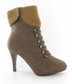 Chaussure Bas Prix - Bottines femme kaki - L027-14 Kaki