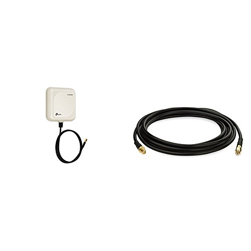 TP-Link TL-ANT302287 Antenna Direzionale, 2.4 Ghz, 9 dBi, Connettore SMA, Lunghezza Cavo 1 m + TP-Link TL-ANT24EC3S Cavo Prolunga Antenna, 3 m