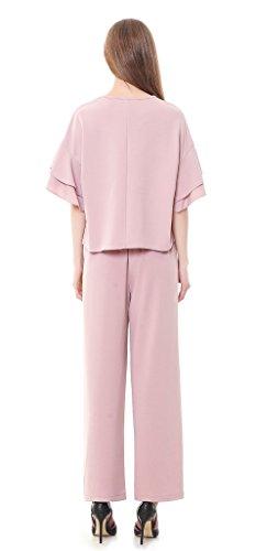 Cicel Girl Rundhals Rüsche Ärmel Oberteile Und Elastische Taille Pantaletten Casual Outfit Rosa