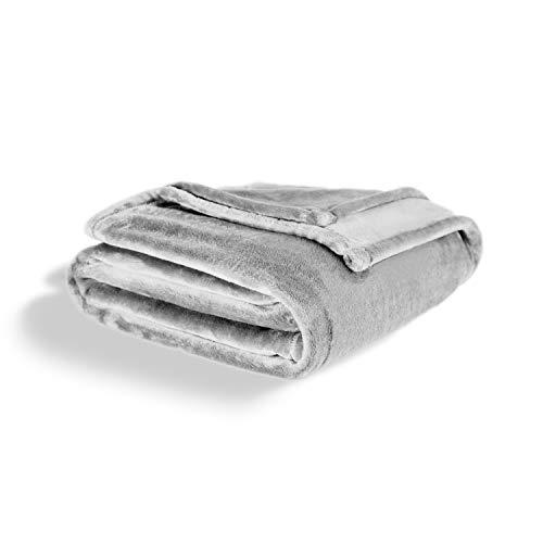 ViscoSoft - Plaid canape Grande Taille | Couverture Douce en Flanelle | Couverture Polaire 220x240cm pour jeté de canapé | Plaid Polaire - Couvre lit touché Ultra Doux (Lavable, Gris)