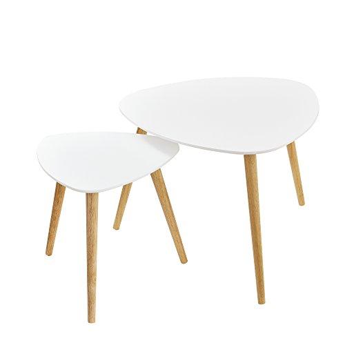 [en.casa]®] Set de 2 mesas de Centro Blanco - Patas de Madera Maciza de Haya - Mesa Auxiliar de Madera