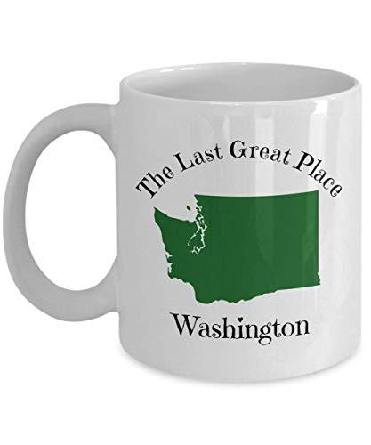 Washington Coffee Mug Gift - The Last Great Place - WA State Outline Map Mug - 50 States Collection (State Wa Map)