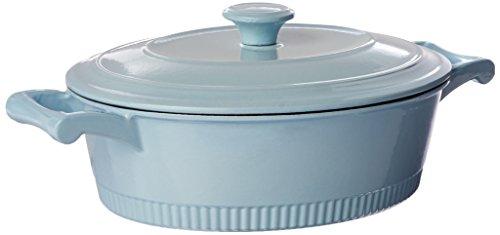 KitchenAid KCTI40CRGB Traditional Cast Iron Casserole Cookware, 4 quart - Glacier Blue 4 Quart-cast