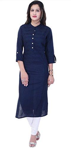 Ahira Casual Solid, Self Design Women's Kurti (Navy Blue)