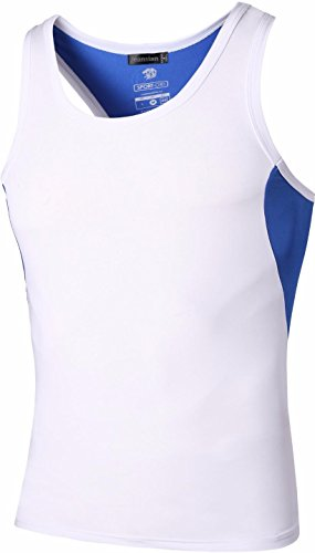 Jeansian Hombres Camiseta De Tirantes Deportivas Wicking Quick Dry Vest Tee Tank Top Verano Correr Training LSL203 White M
