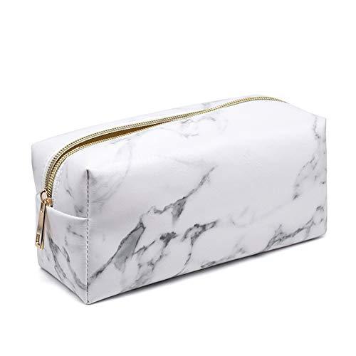 MoGist Neceser Blanco Mármol de Costura pequeño (Estuche Cuadrado del Paquete PU Resistente al Agua Gran Capacidad Estuche Cartera