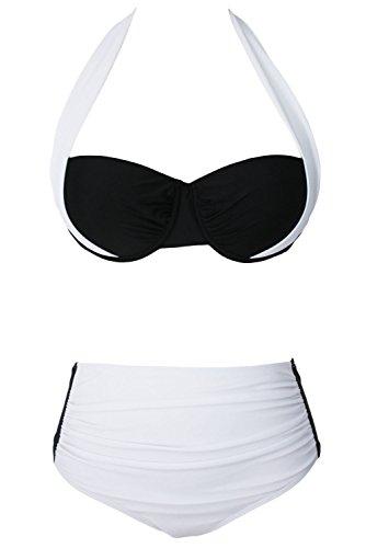 YARBAR Damen Bandeau Bikini High Waist Push Up Set Druck Badeanzug Bademode Weiß