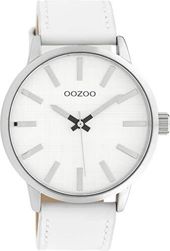 Oozoo Herrenuhr mit Lederband 45 MM Silberfarben/Weiss C10030