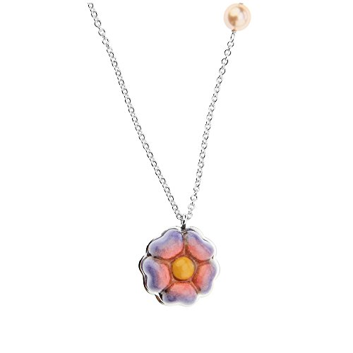 Thun v3124h90 collana current flower power, ottone rodiato, resina, ceramica, multicolore, 7.6 x 10.1 x 3.6 cm