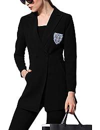 Frauen Solide Blazer Jacke Knopf V-Ausschnitt Slim Fit Coat Arbeit Büro  Formeller Mantel e9ca5ea1fd