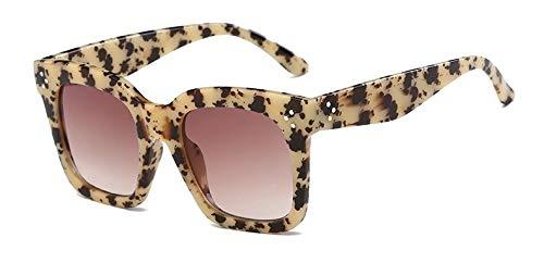 Zbertx Mode Frauen Sonnenbrille Platz Sonnenbrille Weiblichen Spiegel Stil Großen Rahmen Brillen Uv400,Beige Leopard