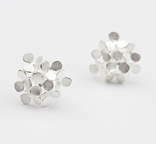 Ohrstecker Silber Blüte Statement Ohrringe ausgefallener Goldschmied Echt-Schmuck Braut-Ohrringe