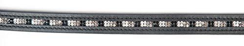 PFIFF 102570 Gurtzügel mit Strass, Gurt Zügel, Grau-Schwarz-Weiß, Full Vollblut -