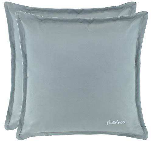 Brandsseller Outdoor Kissen Dekokissen - Schmutz- und Wasserabweisend mit Reißverschluss 2 cm Steg - 350 gr. Füllung - Größe: 48 x 48 cm - Farbe: Hellgrau - 2er Vorteilspack