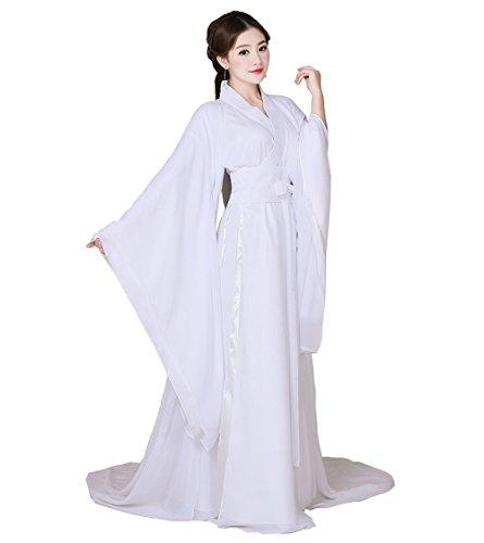 ZENGAI Fee Weiß Altes Kostüm Pfirsichblüte Kleidung Cosplay Kleidungsstück Weiblich Arena Performance (Farbe : Weiß, größe : 160)