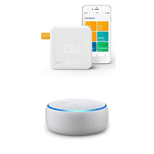 Echo Dot tessuto grigio chiaro + Tado° Termostato Intelligente Kit di Base V3+ - Gestione intelligente del riscaldamento, compatibile con Amazon Alexa, Apple HomeKit, Assistente Google, IFTTT
