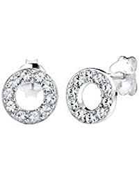 Elli Damen-Ohrstecker Kreis 925 Silber Kristall Brillantschliff weiß   - 0310792814