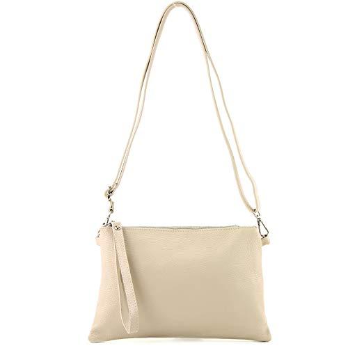 Creme Leder Handtasche (modamoda de - T186 - ital. Clutch/Umhängetasche Leder Medium, Farbe:Creme)
