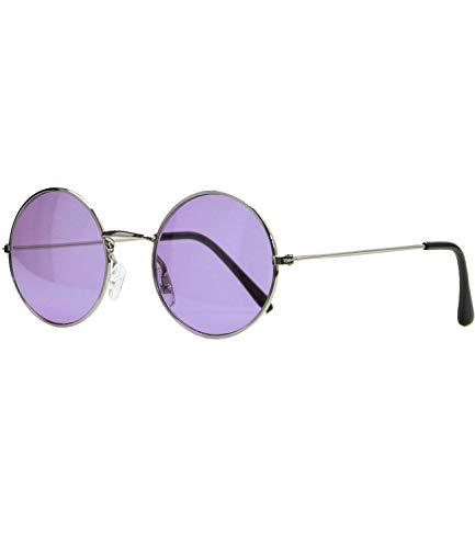 Caripe Lennon Retro Vintage Sonnenbrille Metall Damen Herren rund Nickelbrille (5035 - Silber - violett)