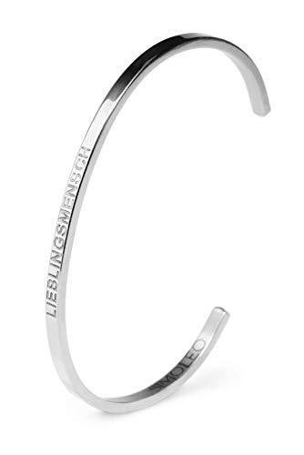 Simoleo Armreif - Unisex Armband mit Lieblingsmensch Gravur - Größenverstellbares Damenarmreif mit einzigartigem Design - Armschmuck in hochwertiger Geschenkbox (Silber)