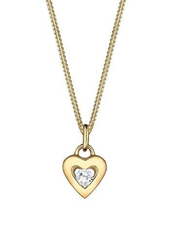 Elli Premium Damen-Kette mit Anhänger Herz 585 Gelbgold Zirkonia weiß Rundschliff 45 cm -  Preisvergleich
