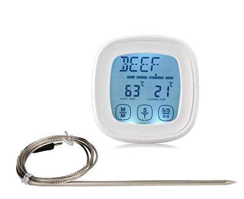 PLHMS Fleischthermometer GroßEs LCD-DigitalkochküChen-Lebensmittelthermometer FüR GeräUcherte Lebensmittel Eingebaute Zeitschaltuhr Mit Edelstahlsonde Ohne Batterie, White Common Probe -