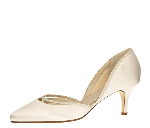 Rainbow Club Brautschuhe Teddie - Pumps Ivory Glitzer Satin - Damen - Gr 39.5 EU 6.5 UK