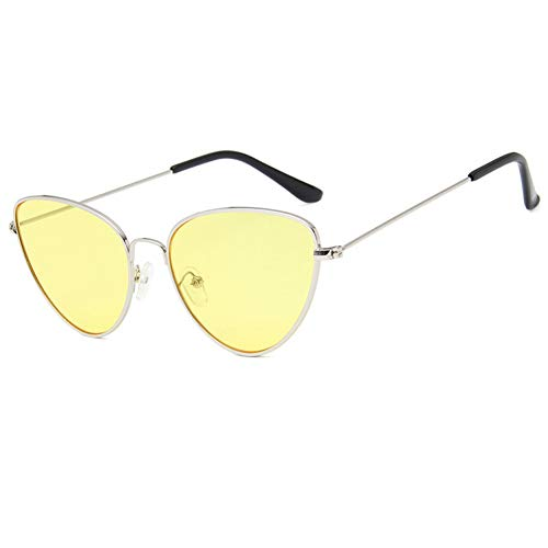 JIGHB Sonnenbrille weiblich Vintage Ladies Cat Eye Sunglasses Women Fashion Clear Red Eyewear Metal Frame Sun Glasses for Female Uv400