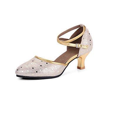 Silence @ Chaussures de danse pour femme en cuir moderne talons Talon cubain extérieur/Performance Argenté/doré doré