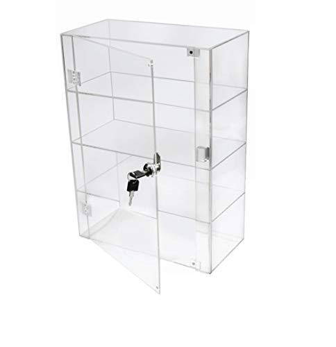 PC3721 @ 1 vitrine en Acrylique Transparent Brillant avec Porte de sécurité et verrou de sécurité (406 x 300 x 153 mm)