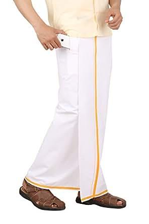 Prakasam Cotton (Winner) Men's Welcro pocket Single Dhoti with Orange Border (Size 28)