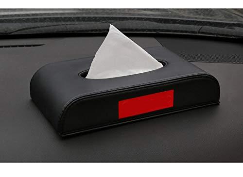 QIA Auto Tissue Box, PU Leder Lange quadratische Serviettenhalter Pumping Paper Case Dispenser für Auto Home Office verwenden,Black