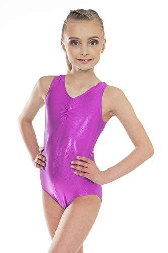 Shiny Metallic Pink Sleeveless Dance Short Sleeved Gymnastic Leotard (9-10 Years, 30