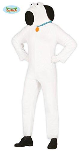 Weißer Hund Karneval Fasching Tier Motto Party Kostüm für Erwachsene Weiß Gr. M - L, Größe:M