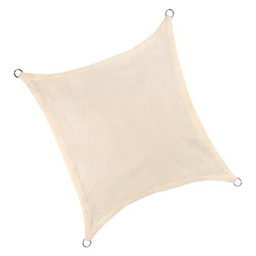 E-starain Sonnenschutz Segel Sonnensegel UV Schutz wasserabweisend HDPE Wetterschutz für Garten, Balkon, Terrasse, Quadrat 2x2m Creme