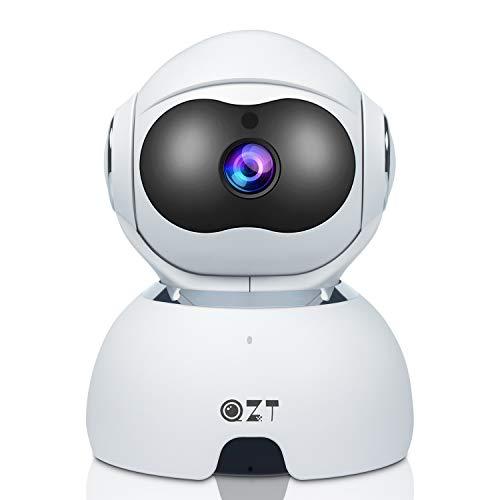 QZT Cámara de VIgilancia WiFi, 1080P FHD Cámara IP Interior con Versión Nocturna, Motion Detection, Móvil Seguir, Cámara de Casa para Niño/Perro/Oficina/Tienda