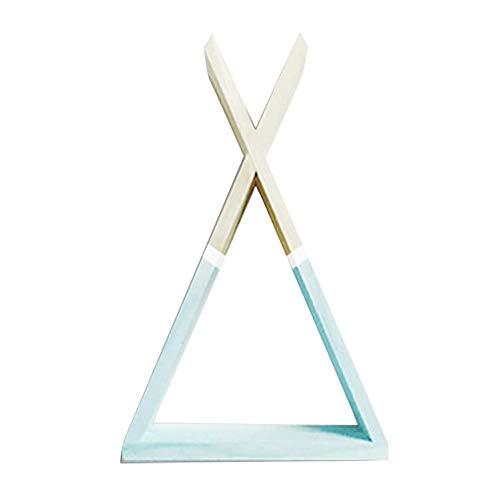 Hacoly Wandregal Schweberegale Dreieck Kiefer Wandmontierte schwebende Regale Langlebig und Umweltfreundlich Hängeregal Wandboard für Wanddeko - Blau