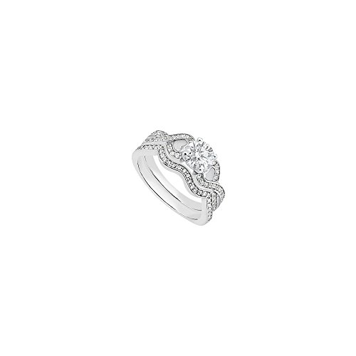1 Carat Cubic Zirconia Engagement Rings with CZ Band Sets in 14K White Gold Heart Design Ring