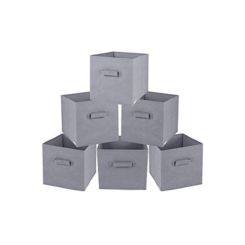 Rebecca Srl Set de 6 Recipientes Boites Poingnees Beige Tissu Stockage Bureau Bain Chambre (Cod. RE4725)