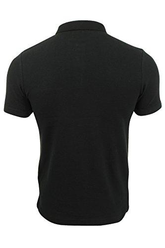 Herren Polo Hemd von Dissident - texturiertes Jerseymaterial, gestreift Schwarz