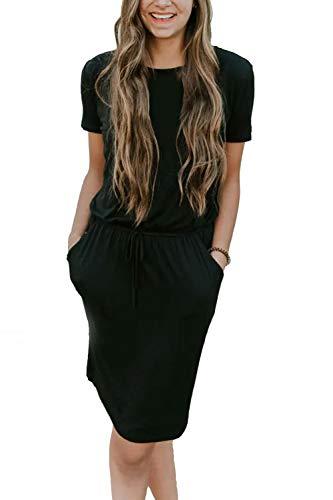 Yidarton Damen Sommer Kleid Kurzarm Blumendruck Patchwork Casual Plissee Midikleid mit Taschen, Schwarz4, XL (Kleid Damen Schuhe Schwarz)