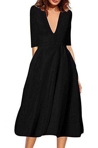 Le Donne Eleganti E 3 / 4 Manica Con Lo Scollo A V - Midi Vestito Formale Black