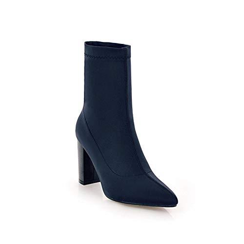 IWxez Damenmode Stiefel elastischer Stoff Herbst & Winter Stiefel klobige Ferse Spitze zehe mid-Calf Stiefel schwarz/blau/Burgund, blau, US9.5-10 / eu41 / uk7.5-8 / c42