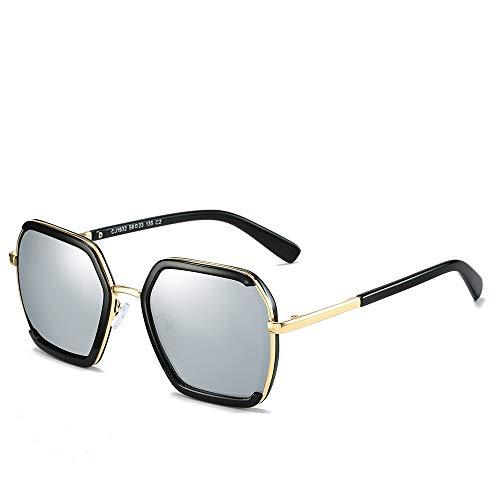 Easy Go Shopping Putdoor Fahren Sonnenschirm uv400 objektiv Unisex Sonnenbrille Fashion Classic Metal großen Rahmen für Sonnenbrillen und Flacher Spiegel (Capacity : Kostenlos, Color : Silber)