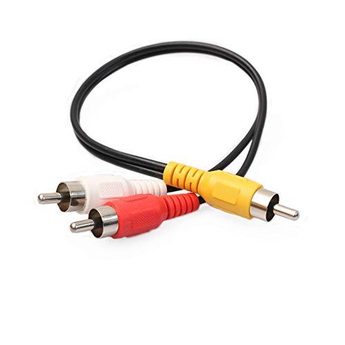 Yowablo Cinch-Phono-Y-Splitter-Kabel 2 Stecker auf Stecker Audio-Kabel-Adapter-Anschluss (Schwarz)