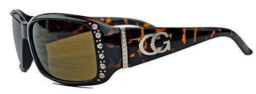 amashades Vintage Classics Schmale Damen Sonnenbrille Strass Glitzersteine Designer Look GC88 (Braun)